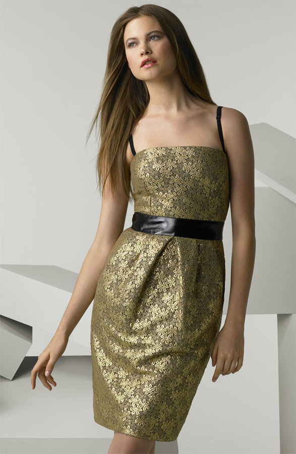 D&G Dolce & Gabbana Gilded Lace Camisole Dress with Leather Waist