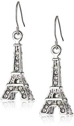 Betsey Johnson Women's Rhodium Eiffel Tower Drop Earrings Drop Earrings
