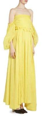 Loewe Women's Off-The-Shoulder Ball Gown - Yellow - Size 38 (6)
