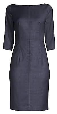 BOSS Women's Super Stretch Check Wool Sheath Dress