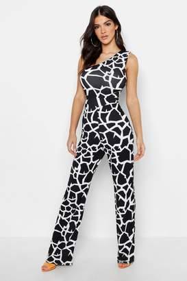 boohoo Geo Giraffe Asymetric Jumpsuit