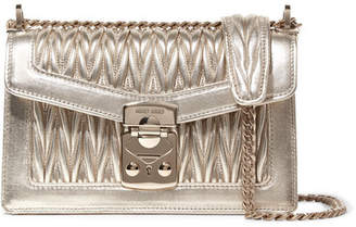 Miu Miu Metallic Matelassé Leather Shoulder Bag - Gold