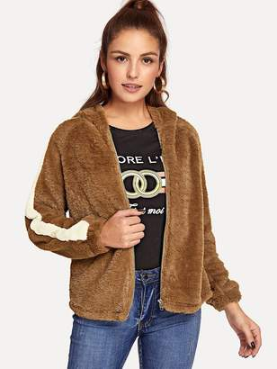 Shein Color-Block Sleeve Zip Hooded Jacket