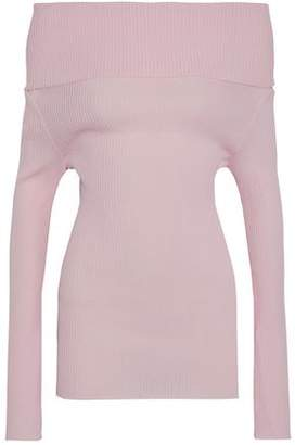 Giambattista Valli Off-The-Shoulder Ribbed Cotton-Blend Sweater
