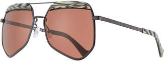 Grey Ant Hexcelled Acetate & Metal Sunglasses, Black