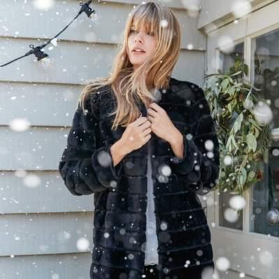 Stripe Faux Fur Coat
