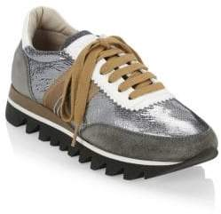 Brunello Cucinelli Metallic-Paneled Sneakers