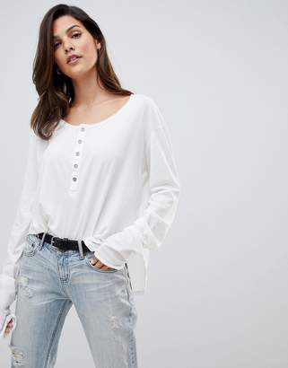 One Teaspoon Soft Touch Button Long Sleeve Top