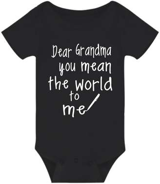 Amberetech Baby Romper Grandma Your Mean The World to Me Baby Boys Girls Bodysuit (, 3-6 Months)