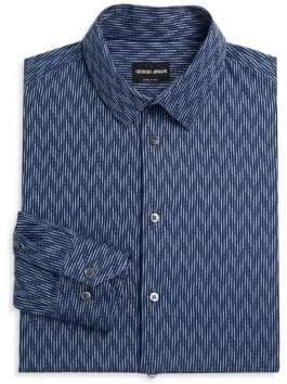 Giorgio Armani Geometric Stripe Cotton Dress Shirt