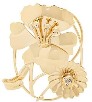 J.W.Anderson Crystal Embellished Daisy And Leaf Ear Cuff - Womens - Gold