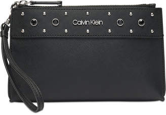 Calvin Klein Saffiano Leather Signature Wristlet