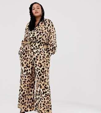 Asos DESIGN x LaQuan Smith Curve wide leg pants in leopard print