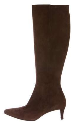 Ralph Lauren Suede Pointed-Toe Knee-High Boots