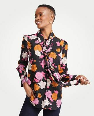 Ann Taylor Tall Autumnal Floral Tie Neck Blouse