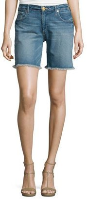 True Religion Emma Raw-Hem Denim Bermuda Shorts, Gypset Blue $179 thestylecure.com