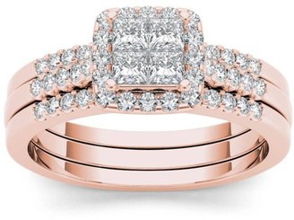 Imperial Diamond Imperial 3/4 Carat T.W. Diamond Single Halo 14kt Rose Gold Engagement Ring Set