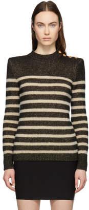 Balmain Black and Beige Striped Button Sweater