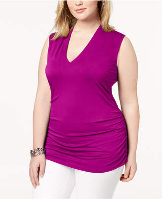 INC International Concepts I.n.c. Plus Size Ruched V-Neck Tank