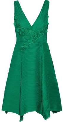 Marchesa Floral-Appliquéd Layered Chiffon Dress