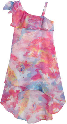 Sequin Hearts Big Girls Printed One-Shoulder Dress