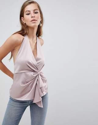 Asos Design DESIGN Halter Top With Origami Plunge