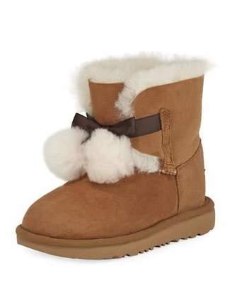 UGG Gita Pompoms Shearling Fur Boot, Kid Sizes 13T-6Y