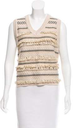 Tory Burch Sleeveless Fringe Sweater