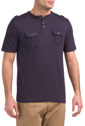 Perforated Henley With Double Pockets