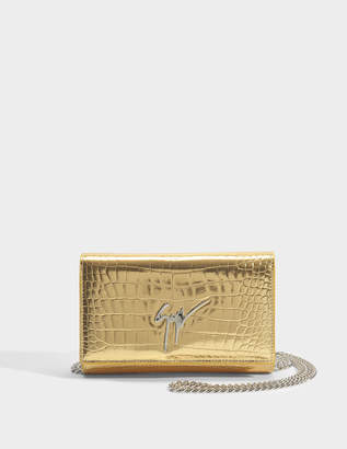 Giuseppe Zanotti Elettra Small Bag in Gold Elettra Leather