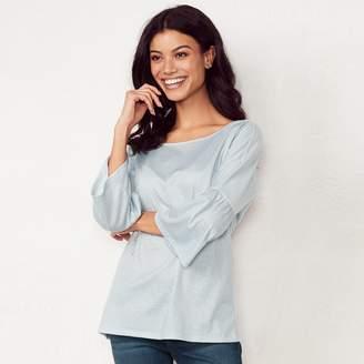Lauren Conrad Women's Printed Bell Sleeve Top