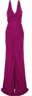 Versace Embellished Ruched Jersey Gown