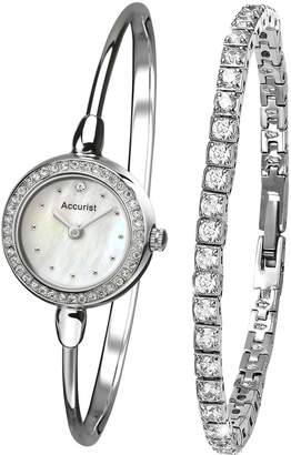 Accurist White Dial Bangle Style & Bracelet Ladies Watch Gift Set