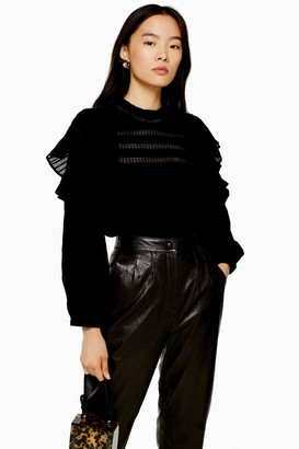 Topshop Black High Neck Prairie Top