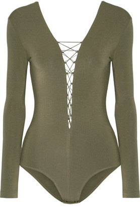 T by Alexander Wang - Lace-up Stretch-modal Jersey Bodysuit - Army green $160 thestylecure.com