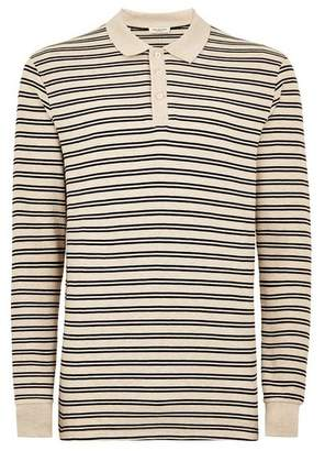 Topman Mens Brown SELECTED HOMME Beige Stripe Organic Cotton Polo
