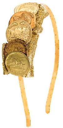 Dolce & Gabbana Gold-Plated Coin & Macrame Headband