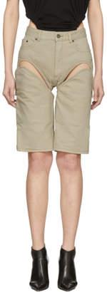 Y/Project Beige Detachable Denim Shorts