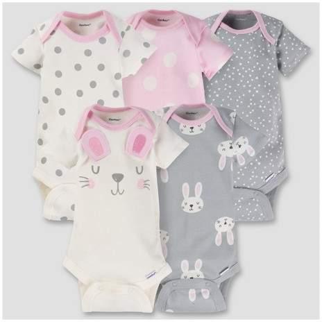 Gerber Baby Girls' 5pk Onesies® Bodysuit - Bunny Pink 24M - Gerber®