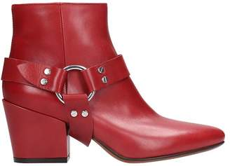 Buttero Red Leather Ankle Boots