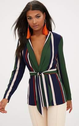 PrettyLittleThing Green Bold Stripe Belted Blazer