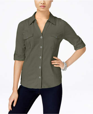 Style&Co. Style & Co Petite Jersey Utility Shirt