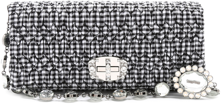Miu MiuMIU MIU Embellished gingham shoulder bag