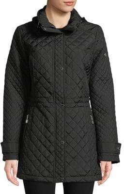 Calvin Klein Plus Fitted Diamond-Quilt Coat