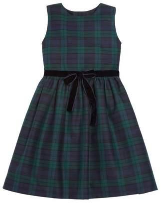Oscar de la Renta Kids Plaid Cotton Wool Dress With Bow