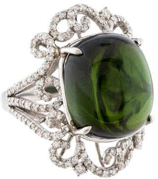 Ring Platinum Tourmaline & Diamond Filigree