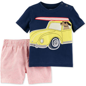 Carter's 2-Pc. Graphic-Print Cotton T-Shirt & Shorts, Baby Boys