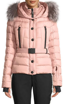 Moncler Beverly Fitted Puffer Coat w/ Removable Fur