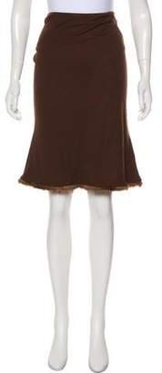 Blumarine Mink-Trimmed Knee-Length Skirt