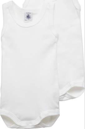 Petit Bateau unisex Bodysuit solid white 2 pack, sleeveless 36m
